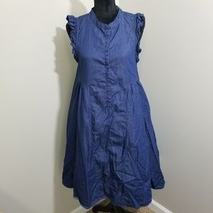 GAP Chambray Button Down Ruffle Sleeve Dress SZ S